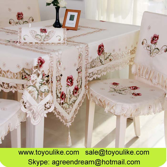 Toyoulike Cutwork Embroidered Dining Table Cover Chair Cover Table Runner Home Decor Home Textile