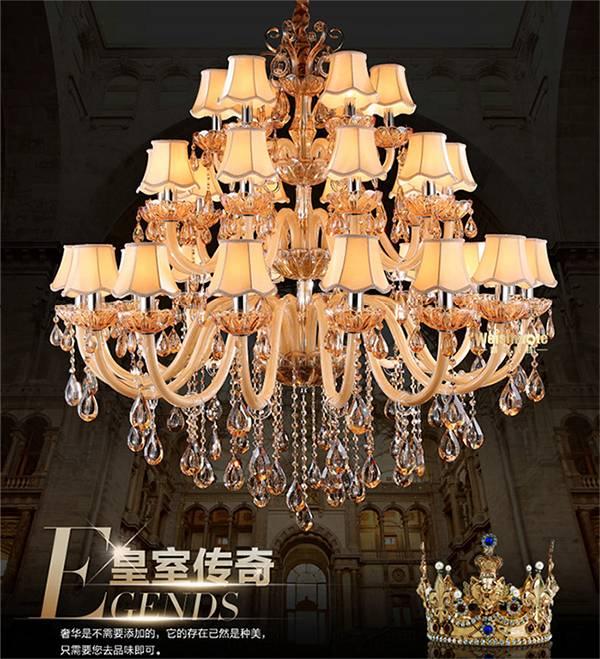 high quanlity  hotel project crystal  light modern chandelier led crystal pendant lighting for shop