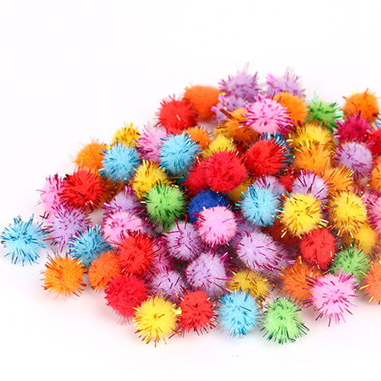 Assorted Color Tinsel Craft Pom Poms