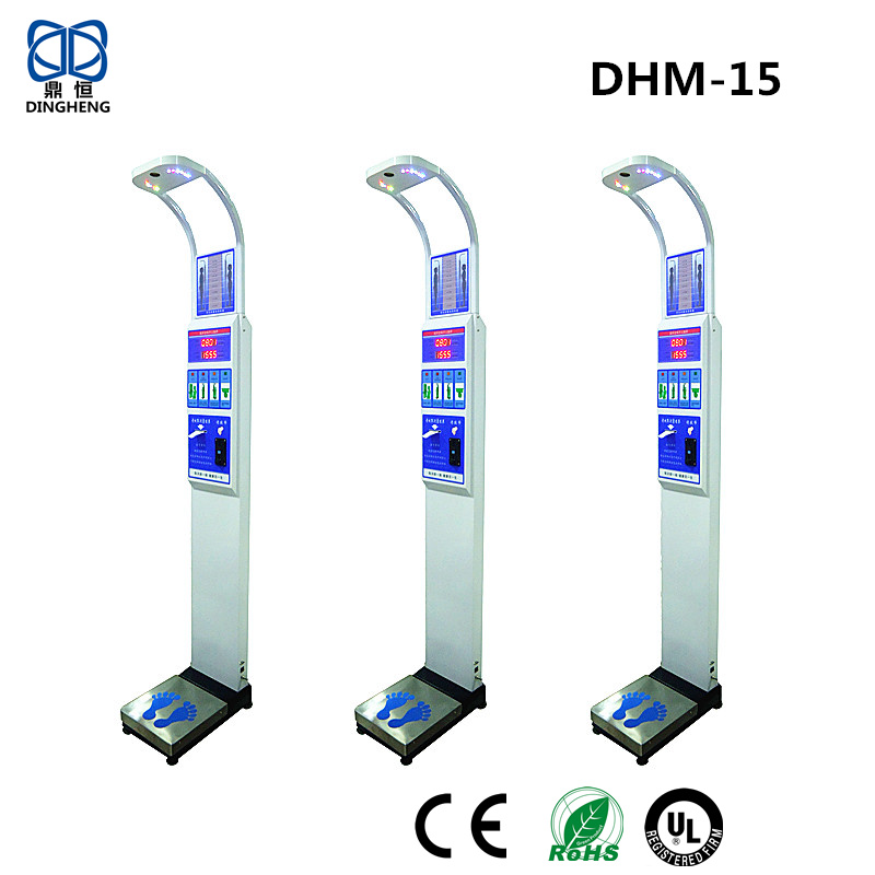 Coin-operated Ultrasonic Electronic Height and Weight Body Fat Scale balance DHM-15