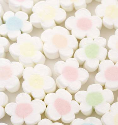 Flower Shaped Marshmallow Candy and Cotton Candy In Bulk Packed
