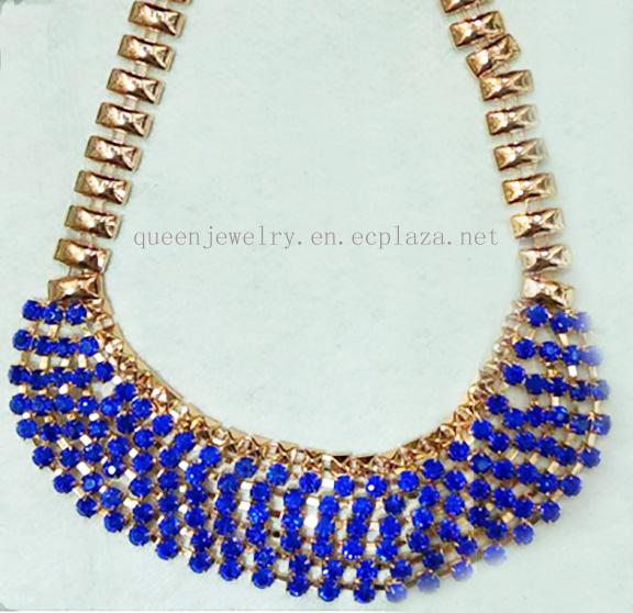 Mother's Day Gift Sapphire Dark Blue Rhinestone Halo jewelry Necklace Earrings Set