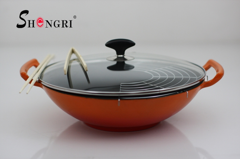 Red Color Cast Iron Enamel Wok With Double Ears Handle And Lid