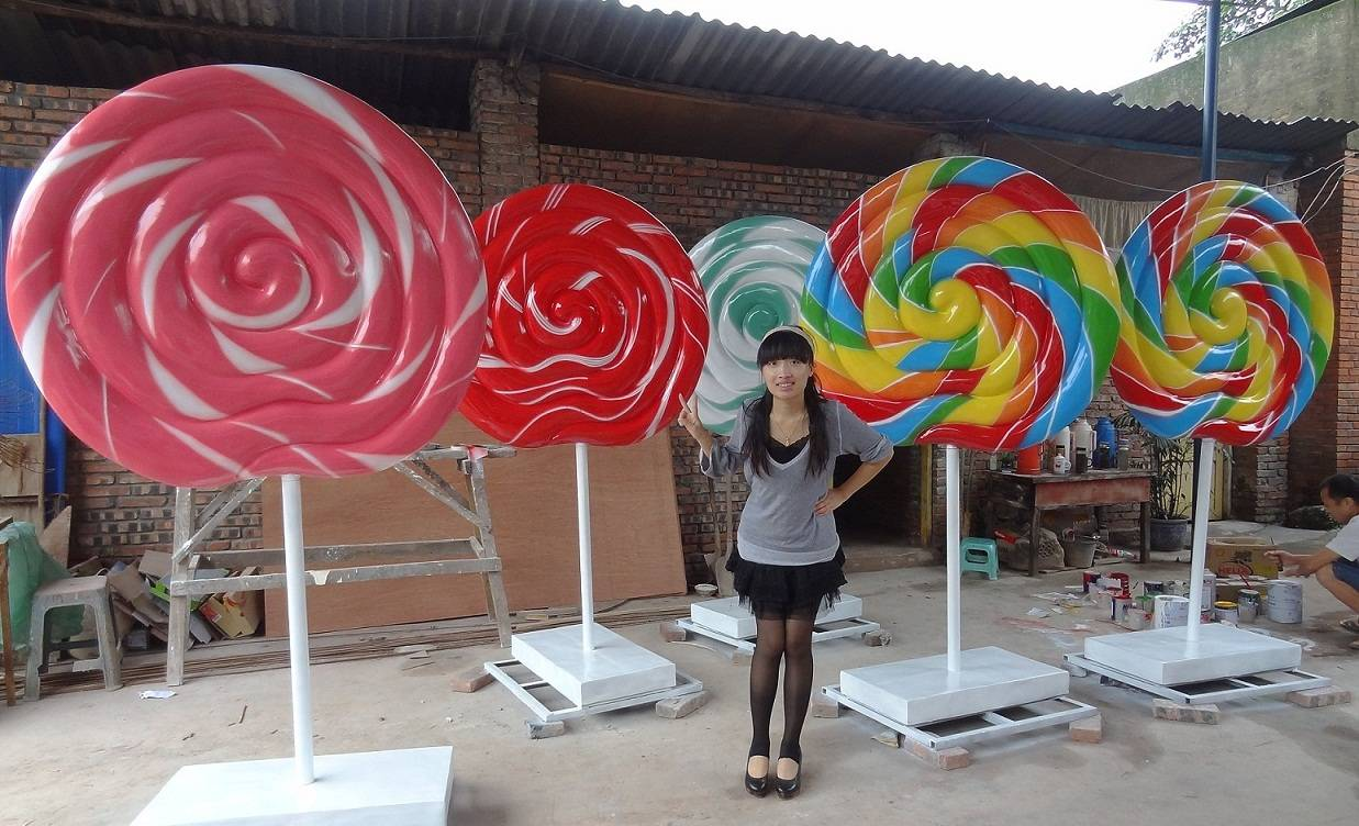 Big Fiberglass Lollipop for Candy Shop Decoration Display