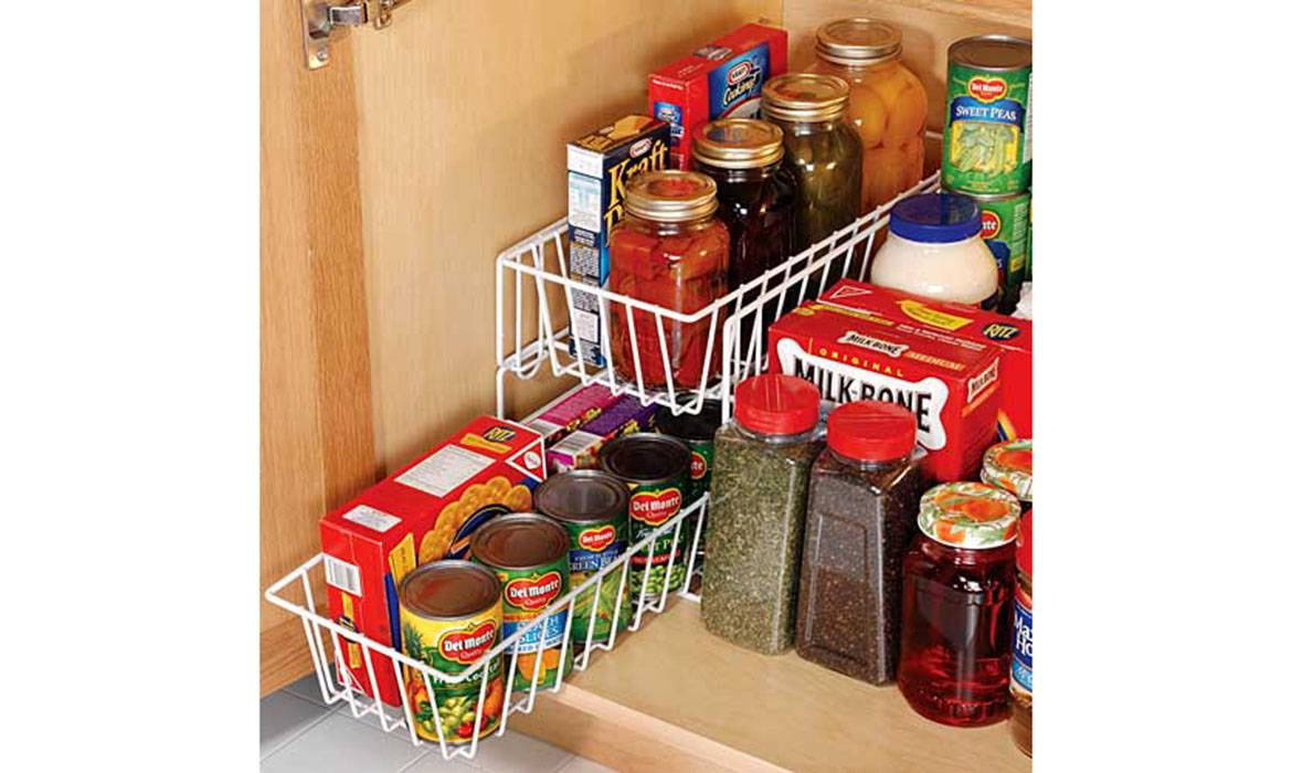 2 Tier Pull Out Drawer Basket, Metal Wire, Cabinet Storage