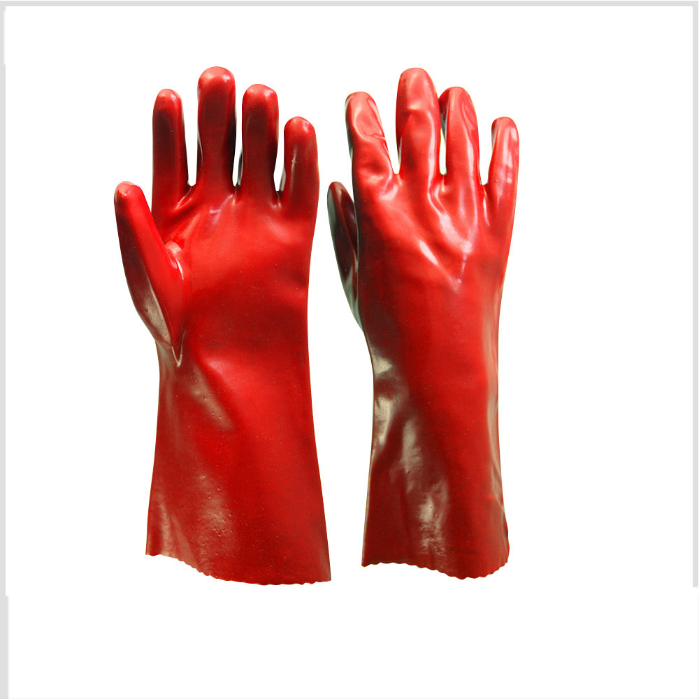 PVC coated chemical resistant working gloves