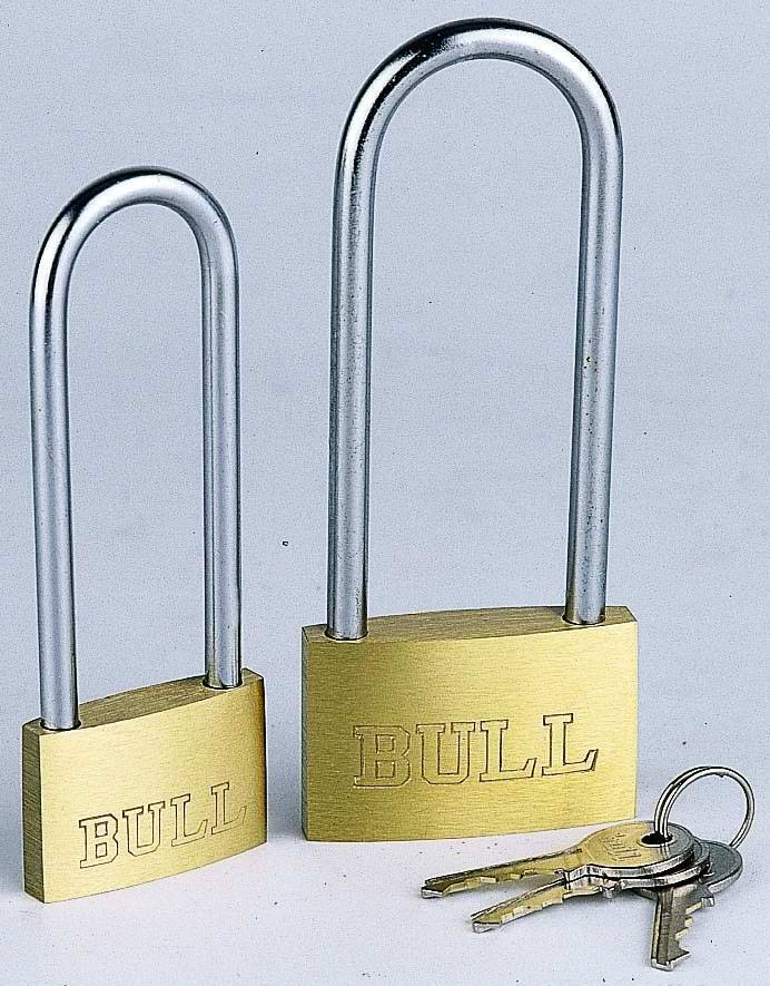 Thin type brass padlock with long shackle