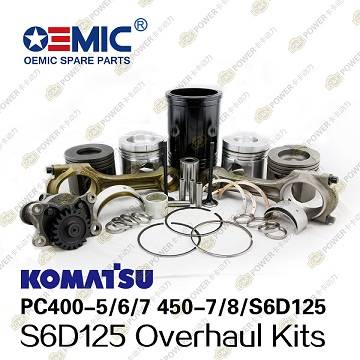 Komatsu S6D125 engine parts liner kits overhaul kits for