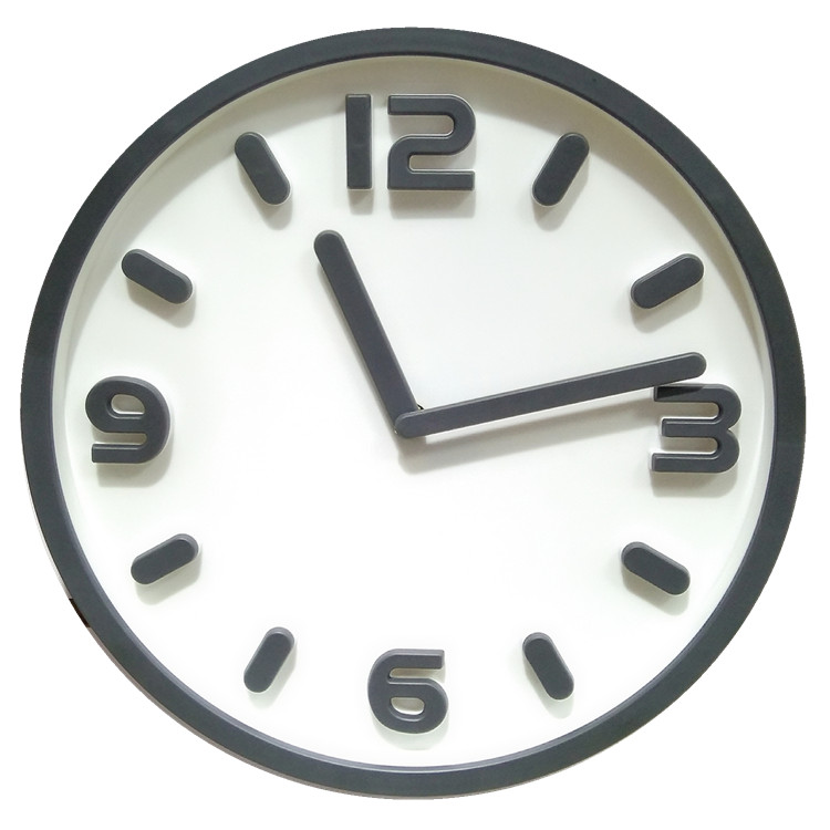 12 inch new design 3D plastic wall clock for living room