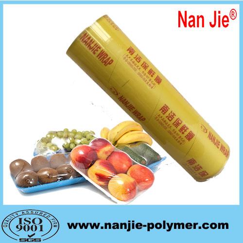 Nan Jie food packaging pvc transparent cling film for wholesale