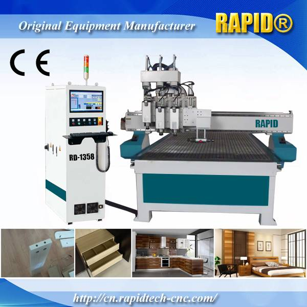 China Rd1325 3 Spindle Side Milling CNC Router Woodworking Machine