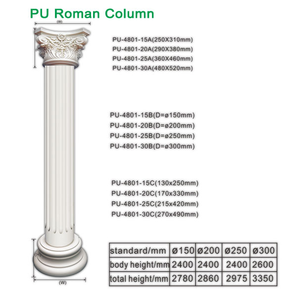 Polyurethane Roman Column for interior decoration church decoration