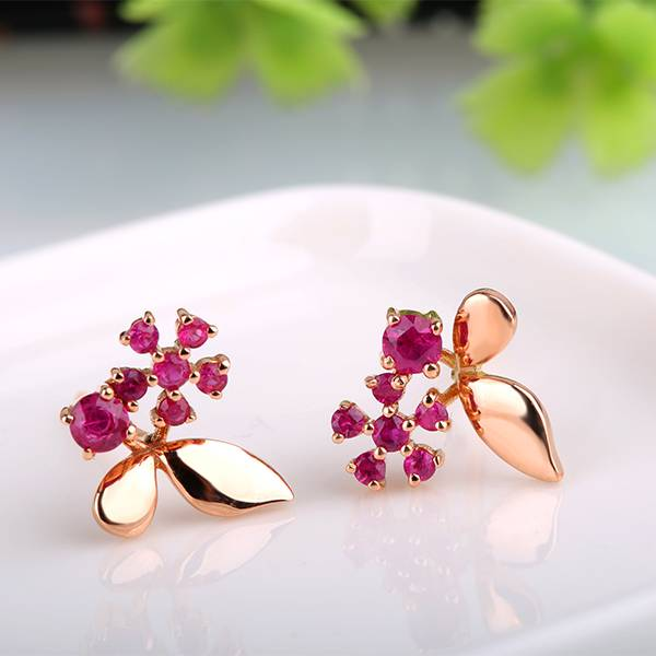 Natural Ruby Earrings 14K Gold Gemstone Ear Stud for Women Fashion Charm