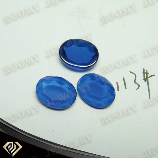 oval shape flat bottom checkerboard face blue spinel 113# gemstone