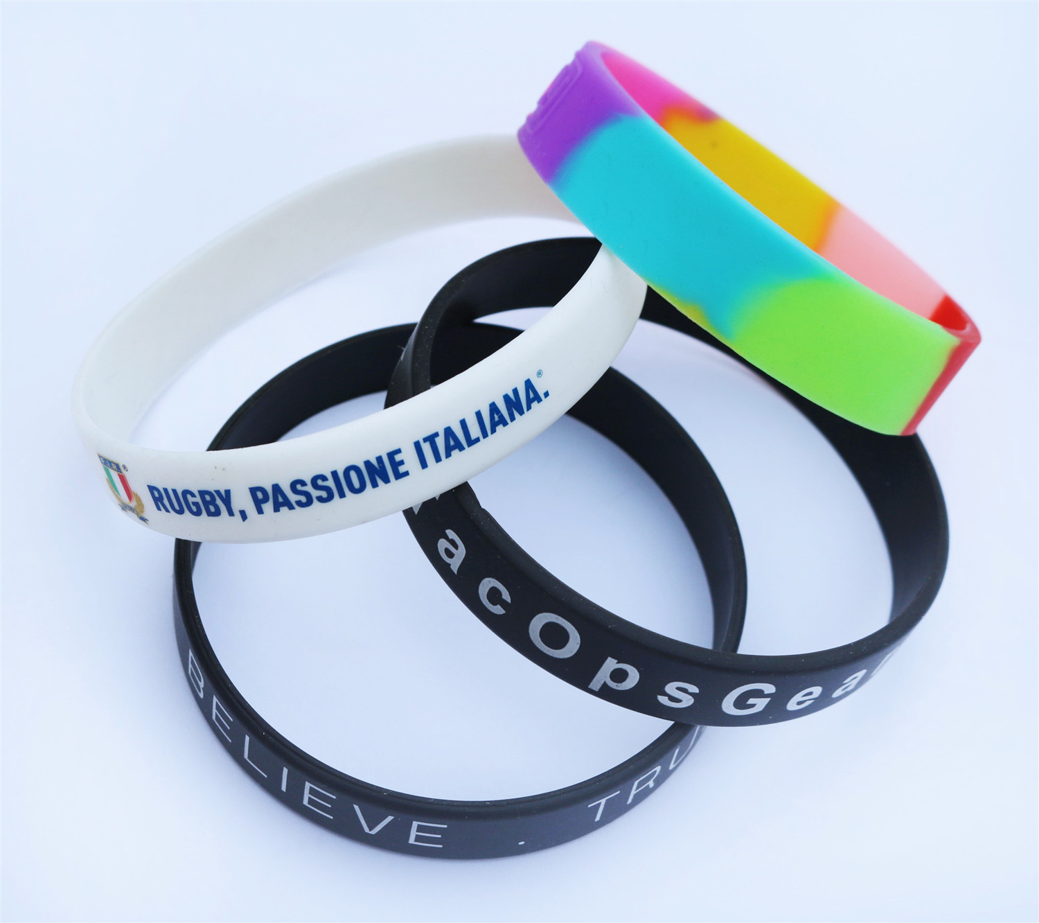 Factory manufacturer custom coloured printing silicone wristband