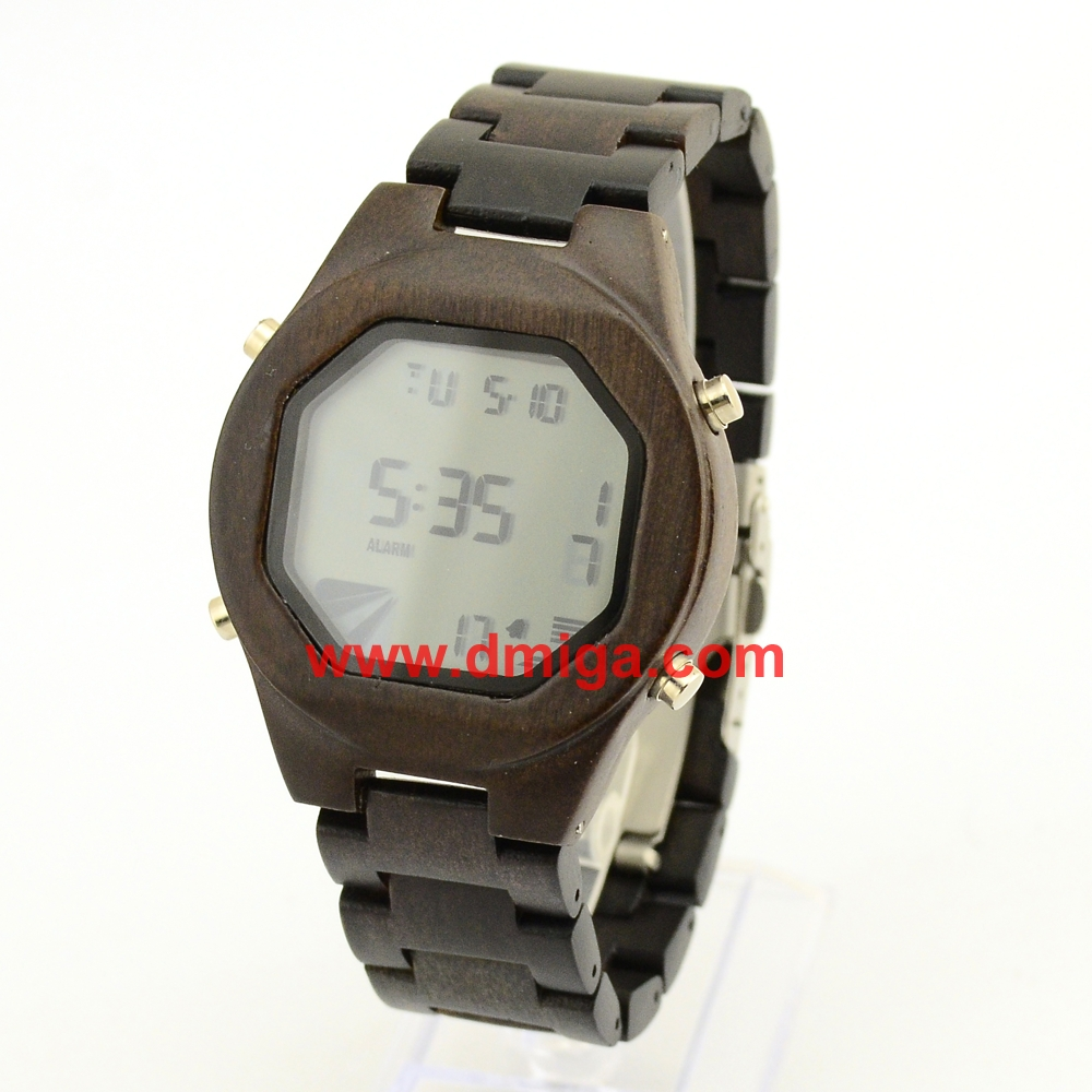 wooden digital watch natural materials wood watch octagon face