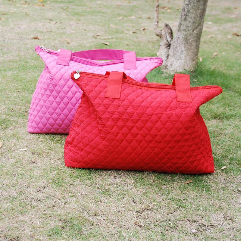 Blanks Solid Quilted Diaper Tote Bag in Pink and Red