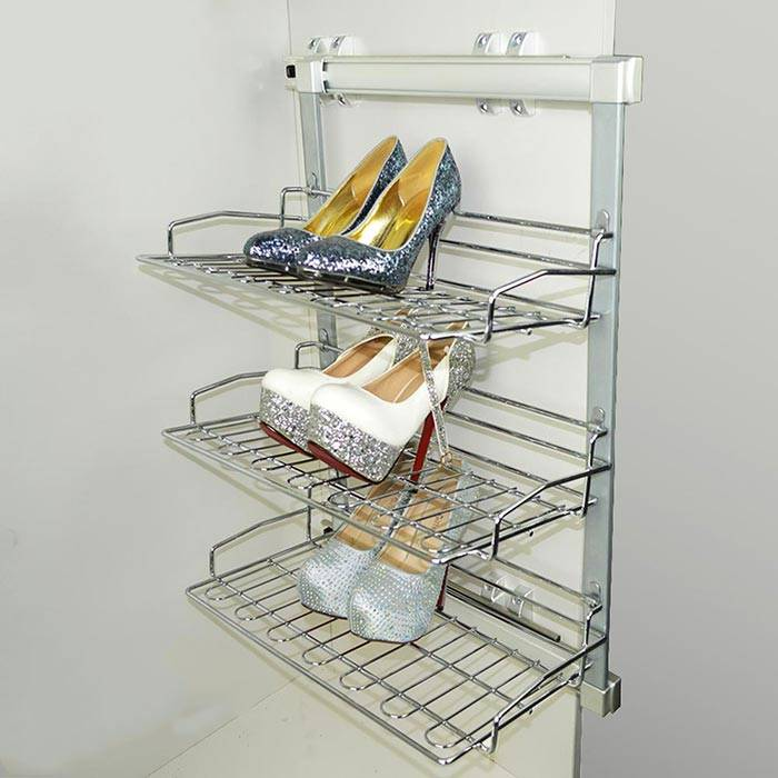 Side Mounted Three Tier Pull Out Shoes Rack
