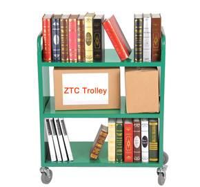 Three flat shelves library book cart RCA-3S-LIB02