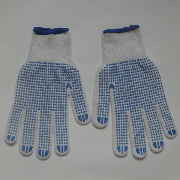 Knited Single /Two sides PVC Dotted Working bleached gloves