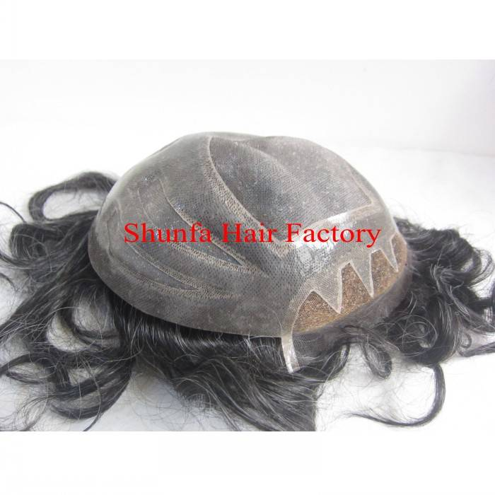 100% Human Hair Toupee fine mono base with natural hairline