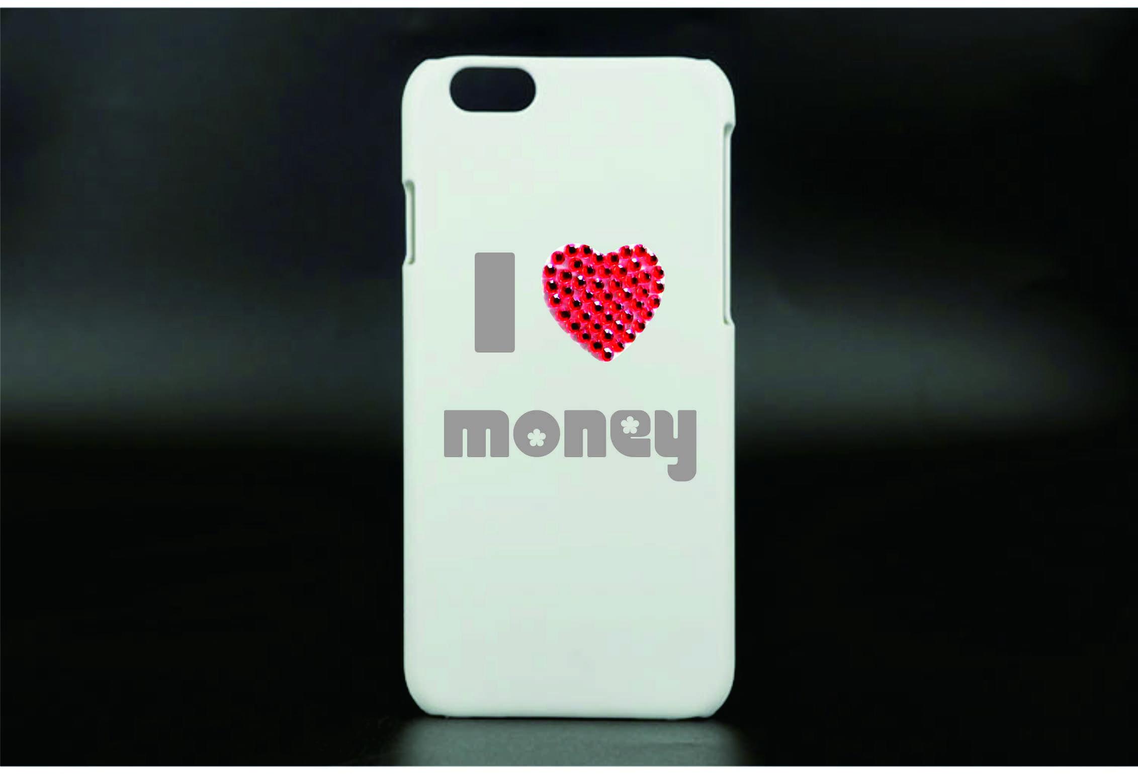 Cell phone sticker - I heart money
