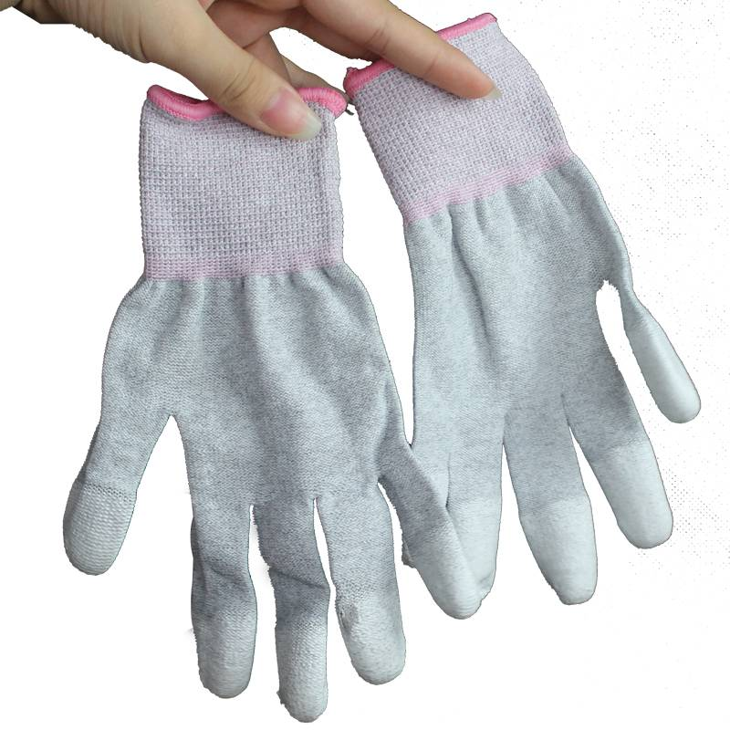 Slip-Proof Low Lint Anti Static Carbon Fiber Gloves With PU Coated Finger