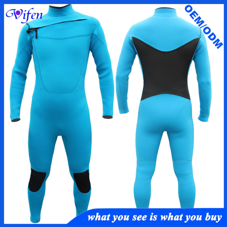 3mm CR front chest zip mens wetsuits blue black knee padded