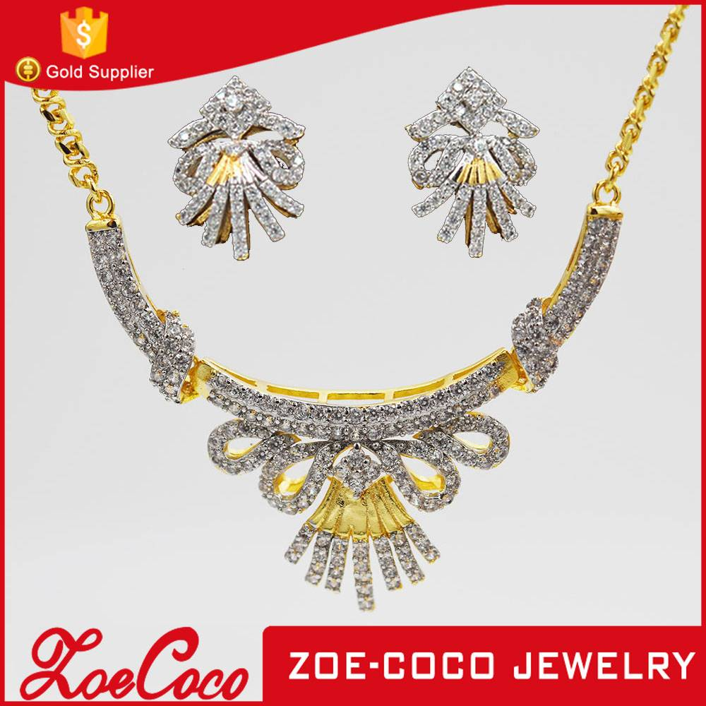 Fashion new arrival cooper alloy 24k gold plated jewelry set