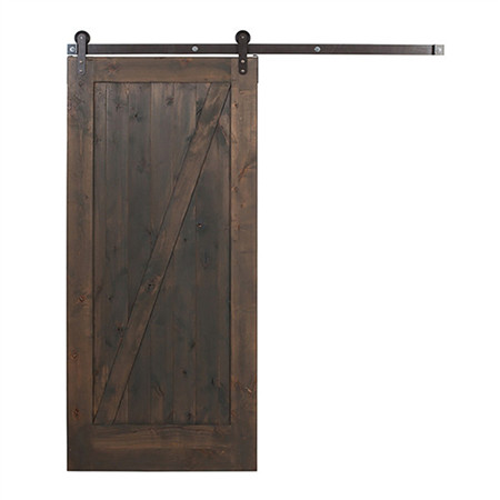 Barn sliding door - Knotty Alder Z Style Gray Finish Old Barn Door