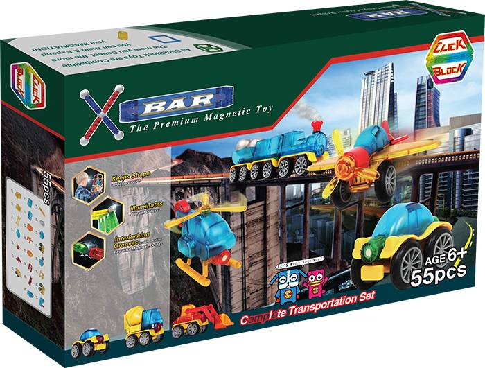 X-BAR CITY COMPLETE TRANSPORTATION Educational magnetic block toy