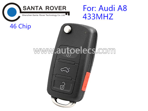 Replacement Remote Flip Folding Car Key For Audi A8 433mhz 46 Chip