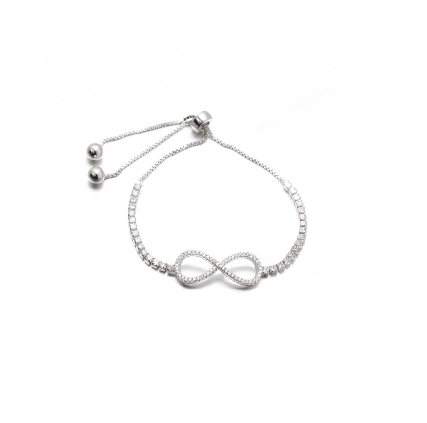 Sterling Silver Infinity Tennis Bracelet with Adjustable Length Cord