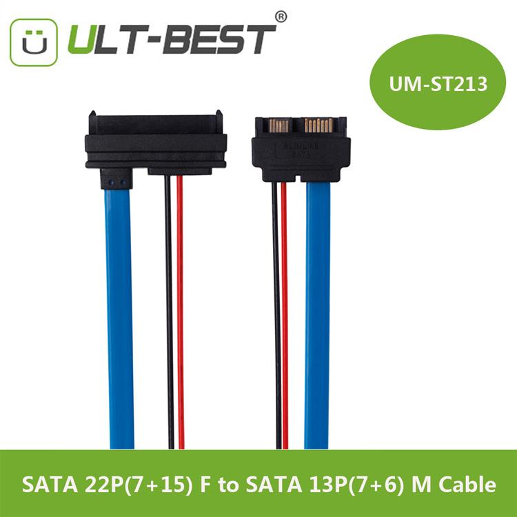 SATA Cable Serial ATA 22Pin 7+15 Female to Slimline SATA 13Pin 7+6 Male Connector Conterver 30CM