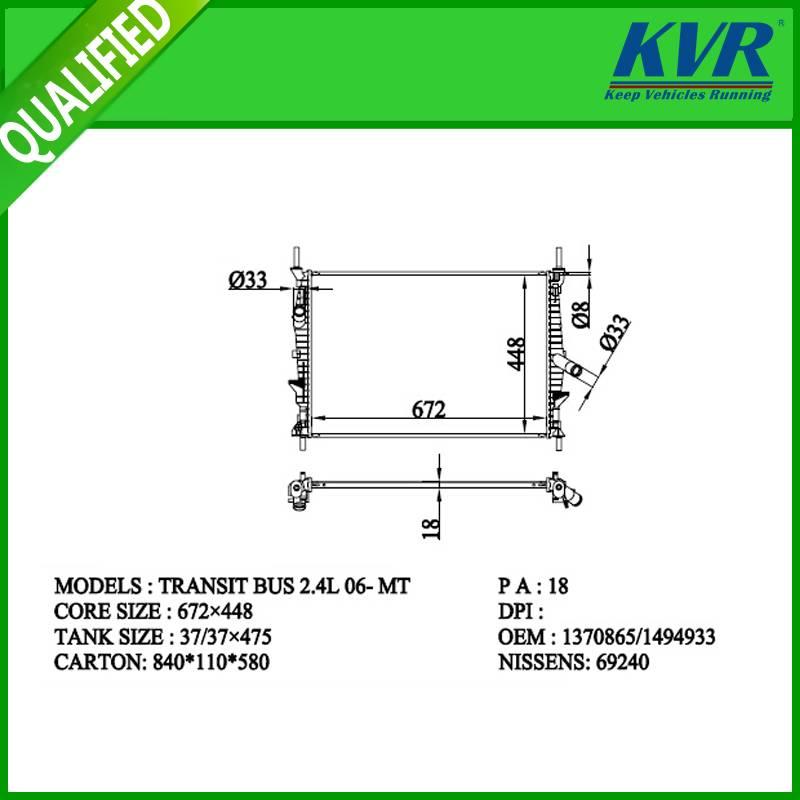 FORD  radiator  for  FRANSIT BUS 2.4L 06-