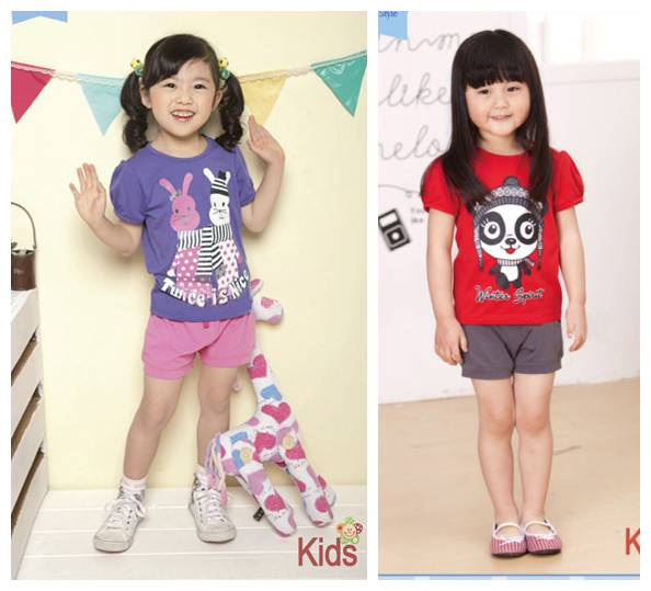 Wholesale girl summer clothing sets short sleeves T shirt+ short pants in stock