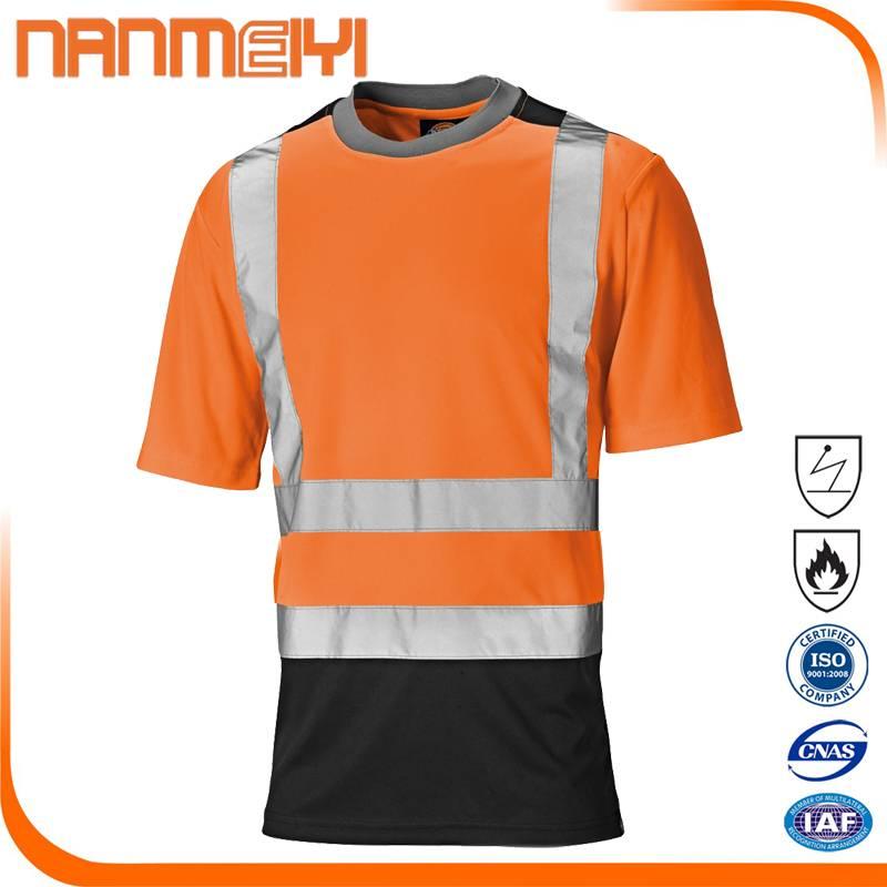 Orange Reflective Short Sleeve Work Shirt with Reflective Strip