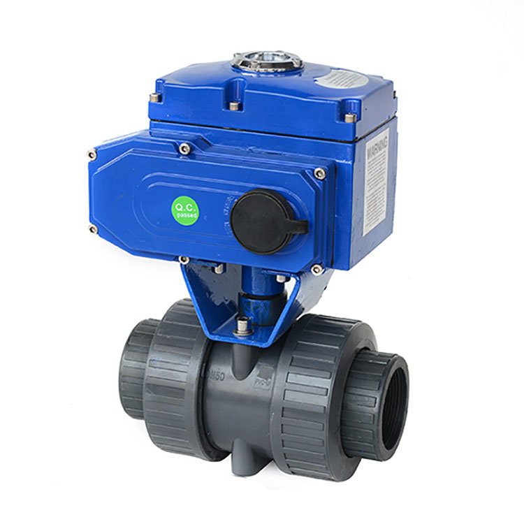 Motorized Actuated Double Union PVC Ball Valve