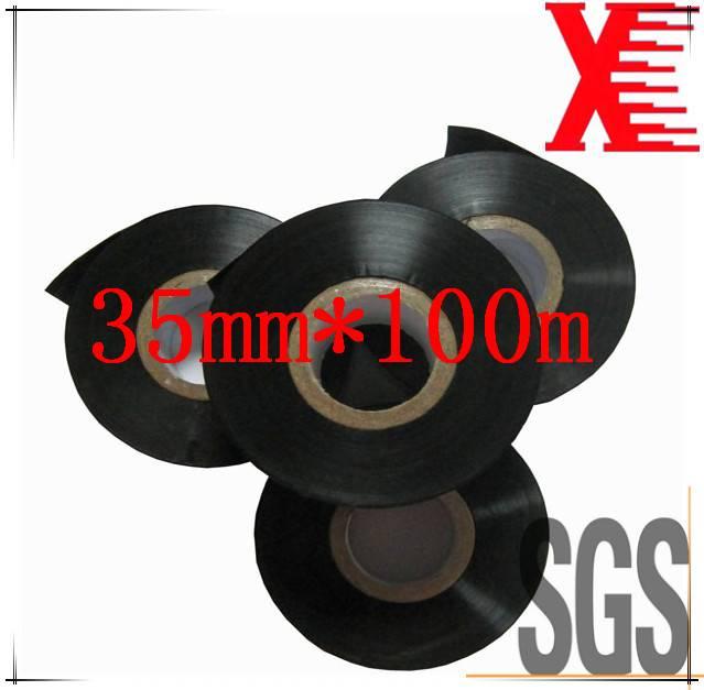 Black 30mm*100m PET film hot coding foil/date coding ribbon for plastic used on labeller/coding mach