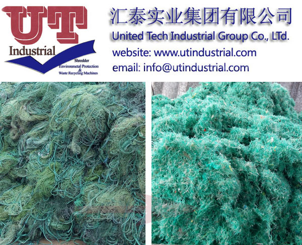 plastic fishing net shredder, waste fishing net crusher, plastic recycling machine