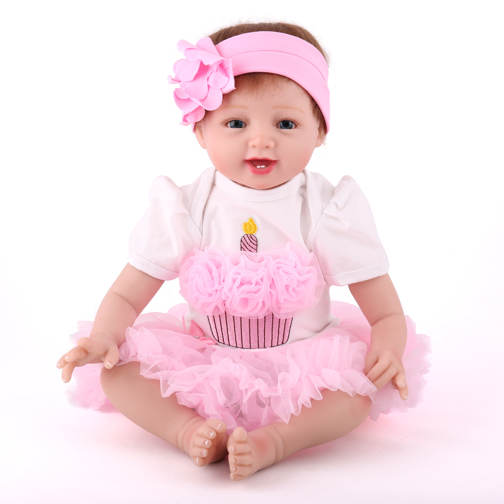 "22"" Lovely Reborn Baby Dolls Lifelike Adora Girls Toys Hobbies New Design Toddler Dolls 2018"