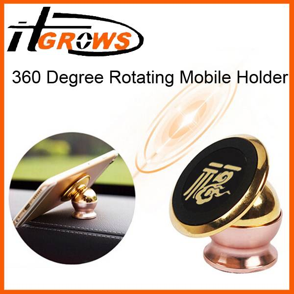 Universal Magnetic Car Mount Kit Sticky Stand Holder For Mobile Cell Phone Gold