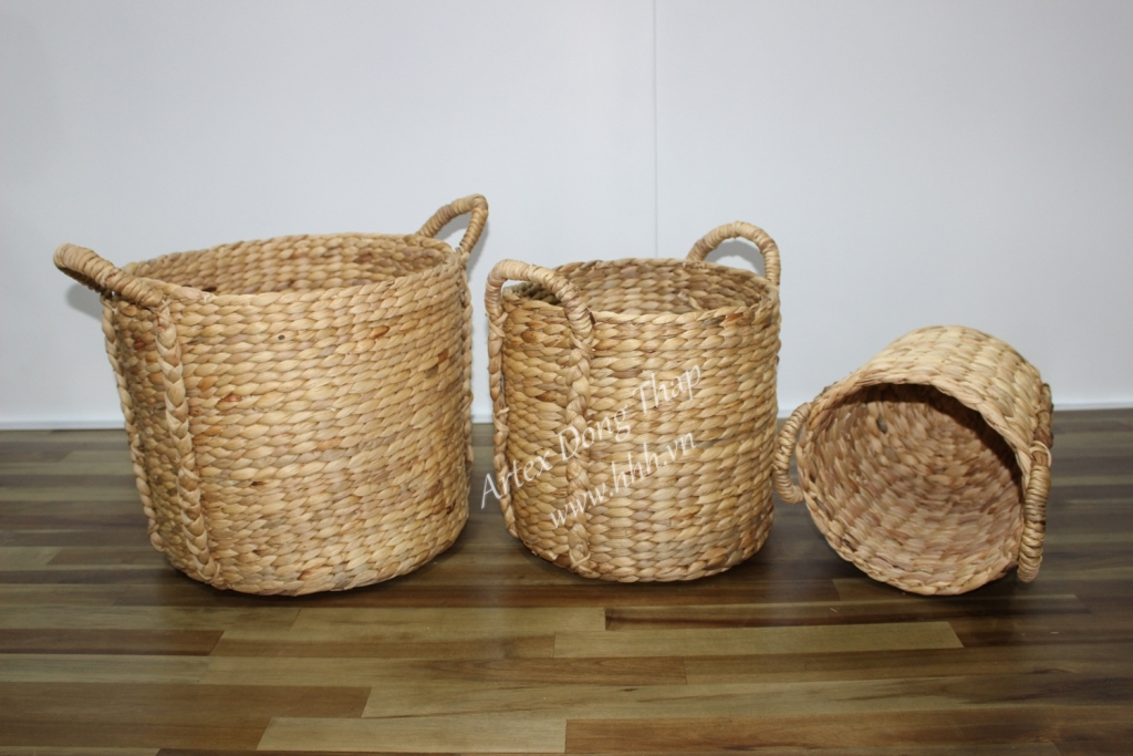 Water hyacinth storage basket for home decor and furniture - SD2596A-3NA