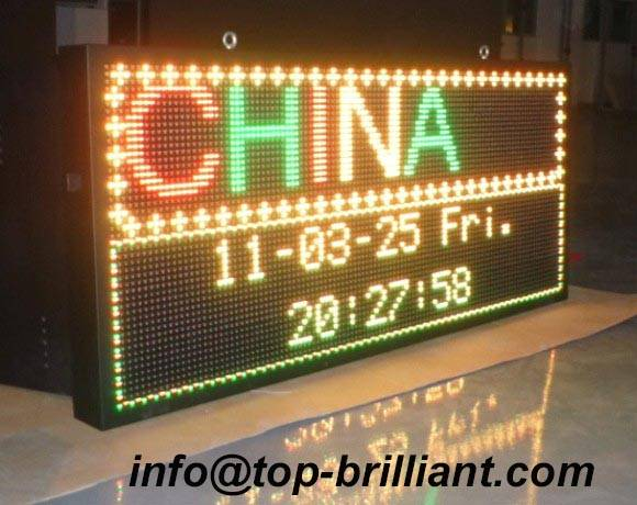 double tri dual color led disaply sign