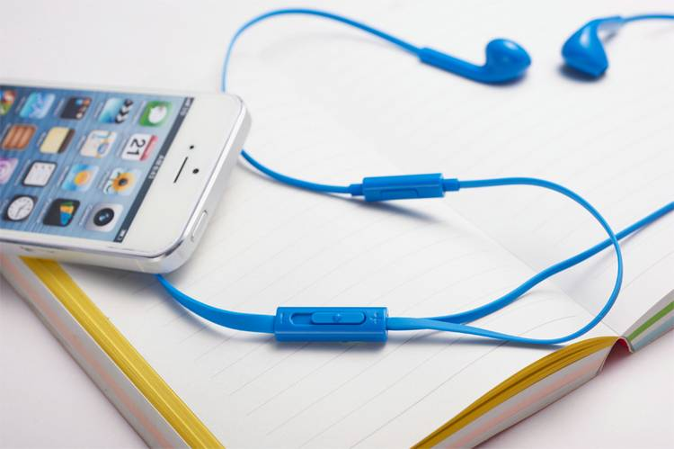 Blue Stereo Sports Earphone with Mic for music and call