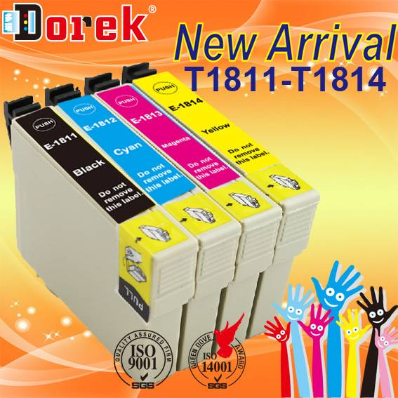 Free shipping(10 Black,10 Cyan/Lot) compatible ink cartridge T1811 series four color  for EPSON XP-2