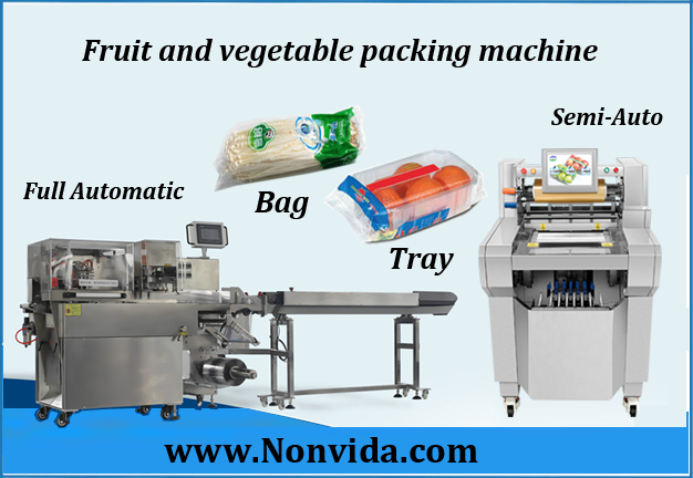fruits and vegetable packing and wrapping machine with tray