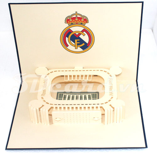 Santiago Bernabeu-Kirigami-Origamic-Laser cut-Paper cutting-3D-Pop up-Birthday-Handmade-Stadium card