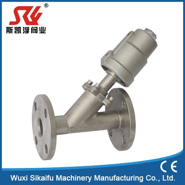 Stainless Steel 304 DN25 Flange Air Operate Angle Seat Valve