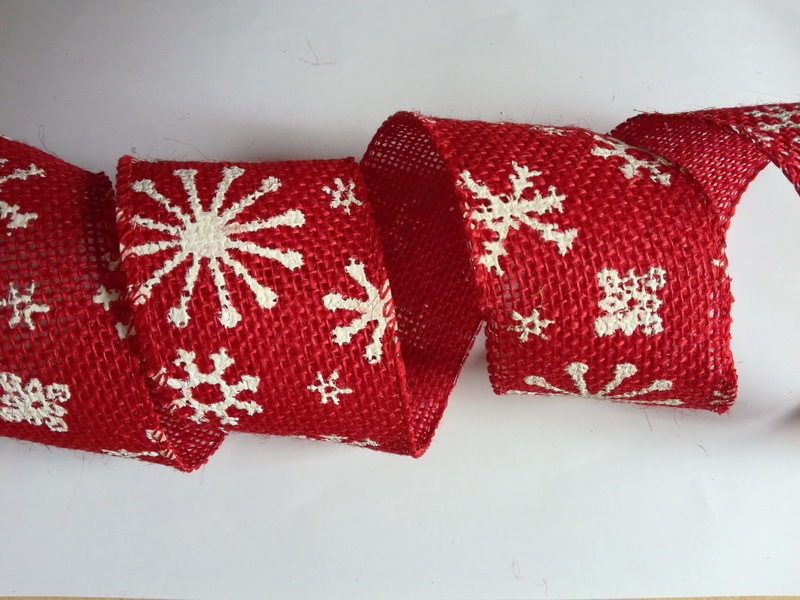 red jute ribbon with snow printing, sewing wire edge